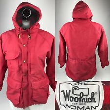 Vintage WOOLRICH Wool Lined 60/40 Parka Red Nylon Hooded Jacket Womens Med USA