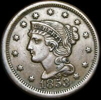 1853 Braided Hair Large Cent Penny ---- Nice Type Coin ---- #H409