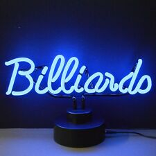 Billiards neon sign sculpture hand blown glass pool table lamp light cue stick