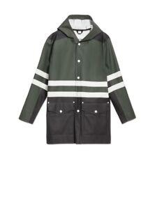 NEW $1100 STUTTERHEIM X MARNI GREEN BLACK RUBBERIZED COTTON RAIN COAT SIZE L