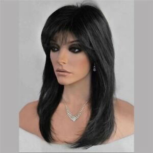 Women Real Natural Lady Party Cosplay Full Wig Wigs w/Bangs Medium Straight Hair