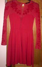 New Ladies Motel Skater Dress, Red, Size S