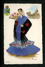 Embroidered clothing postcard Artist Elsi Gumier, Spain, Madrid woman #11