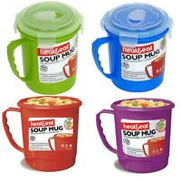 Soup Mug Microwave BPA Free Plastic Lunch Cup Camping Travel Heat Hot Drink