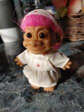 "Russ Troll Nurse from Red Cross 5"" Pink Hair Brown eyes #18309 Euc"