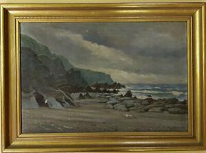 William Gibbons, Original Ölgemälde, Landschaft Küste England See Meer, 1893