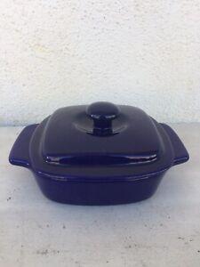 Chantal Cobalt Stoneware Baker 1/2 Qt Covered Baking Dish. .65LTR