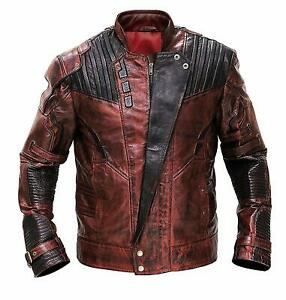 The Guardians of the Galaxy 2 Star Lord Distressed Maroon Real-PU Leather Jacket