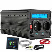 1500W 3000W DC 12V AC 220V 230V pure sinus convertisseur onduleur LCD 2 USB