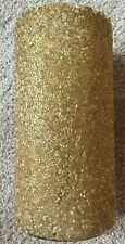 "NEW Gold Beaded Glass Hurricane Pillar Candle Holder 8.25"" tall by 4"" diameter"