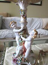 RARE Antique Handpainted Von SCHIERHOLZ DRESDEN PORCELAIN CHERUB Lamp~~Excellent