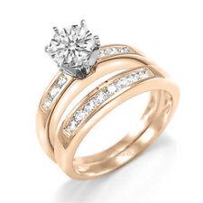 18k Solid Gold Diamond Engagement Ring Wedding Band Set
