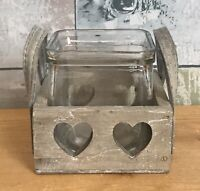 Rustic Heart Carved Wooden Box Candle Holder with Glass Jar and Handles