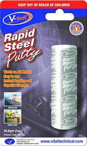 1 x V-Tech Rapid Steel Putty Instant Metal Epoxy Bonding Cracks Filler VT-138