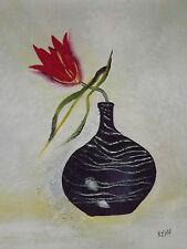 minimal singolo rosso fiore in vaso large pittura a olio tela moderno art