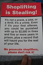 """New 10 Pack Of """"Shoplifting is Stealing"""" Posterboard Security Sign"""