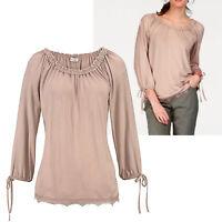 sehr hübsches Shirt Carmen Gr.42/44 luftig Bluse TOP Tunika Rose Edel Oberteil