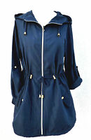 Damen Regenjacke Pocket Parka M 38-40 Festival Jacke Mantel Kapuze Blau Primark