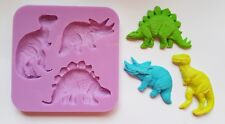 LARGE 7.5cm DINOSAURS SILICONE MOULD FOR CAKE TOPPERS, CHOCOLATE, CLAY ETC