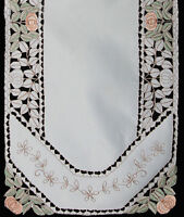 """Embroidered Floral Cutwork Placemat Table Runner Cloth 15x52"""" #3434 Ivory"""