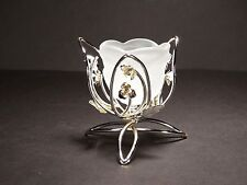 Metal flower shaped tea light holder / stand with glass , silver color #10