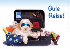 DIN A6 Postkarte Grußkarte Tierpostkarte Lagotto Hund im Reisekoffer Gute Reise