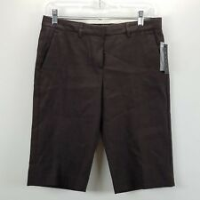 Theory Womens Size 4 Shorts Brown Palmer Bermuda Stretch Walking Linen Blend