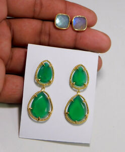925 Sterling Silver Jewelry Labradorite Green Onyx Gold Plated Earring ME3089