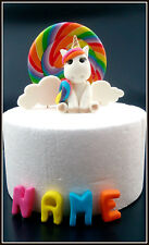 Edible fondant unicorn name and clouds plus rainbow lollie pop cake topper pack