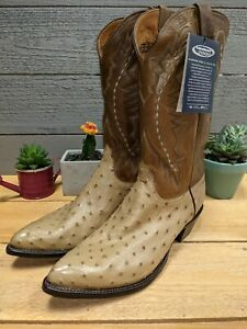 Lucchese 2000 Full Quill Pin Ostrich Oryx 11 EE Men's Cowboy Boots