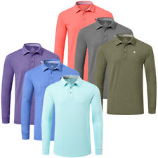 JINSHI Men's Long Sleeve Golf Shirt T-shirt Slim Fit Workout Casual Home