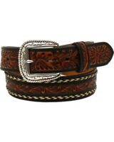 Ariat Men's Black & Tan Leather Belt With Horse Hair Embellishment A1024267