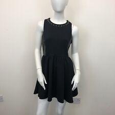 River Island Ladies Black Gold Studded Neck Sleeveless Skater Dress UK Size 12