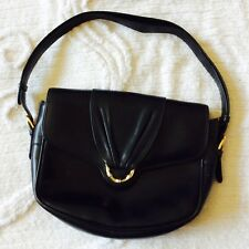 GUCCI Black Bag Italy Made Leather Suede Lining Italian Designer Vintage Handbag