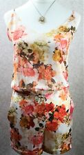 Zara ~ S ~ BNWT cream & orange floral, sheer, strappy playsuit
