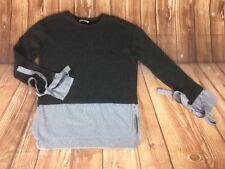 ZARA TRAFALUC Women's Grey Knitted Sweater Blue White Striped Shirt Bottom S