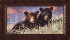 PLAY MATES by Lucie Bilodeau 11x19 FRAMED PRINT PICTURE Black Bear Cub Wildlife