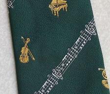 Cravatta musicale vintage con 1970s DI LONDRA MADE VERDE VIOLINO PIANOFORTE A CODA CORNO Note