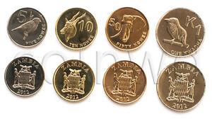 ZAMBIA 4 COINS SET 2012 ANIMALS UNC (#306)