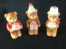 3 Vintage Enesco Lucy & Me Bear Figures Birthday Cake 1980's