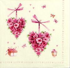 4x Vintage Rose Cuore Julia Carta Tovaglioli per Decoupage CRAFT