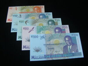 Malawi 1995 5-100 Kwacha Banknotes Gem Uncirculated Pick#30-34