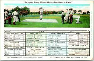 "1931 GOLFING ""Time Savers"" Greetings Postcard Checklist / Golf Course Scene"