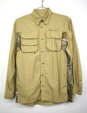 Habit Mens Beige Button-Up Long Sleeve Comfort Fit Outdoor Fishing Shirt M