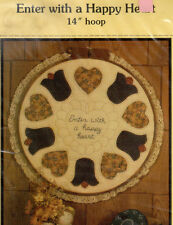 "Honey Bee Patterns Piecing & Applique for 14"" hoop ""Enter with a Happy Heart"""