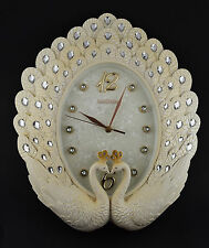Peacock Diamante Crystals Vintage Wall Clock Cream Colour Wedding Gift