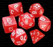 NEW 7 Piece Polyhedral Dice Set - Demons Eye Red Marble - Red Dice Bag