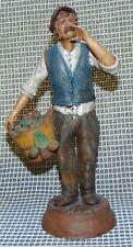 Rare Antique Hand Molded Italian Polychromed Terracotta Creche Figure #6