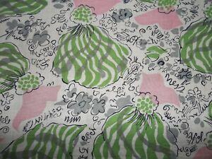 Vintage Pink Green Gray Black Feed Sack Fabric