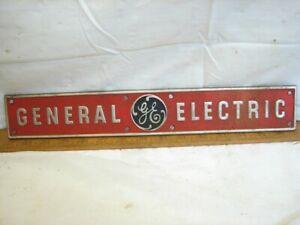 "Vintage GE Stamped Aluminum 15"" Industrial Machine Badge General Electric Sign"